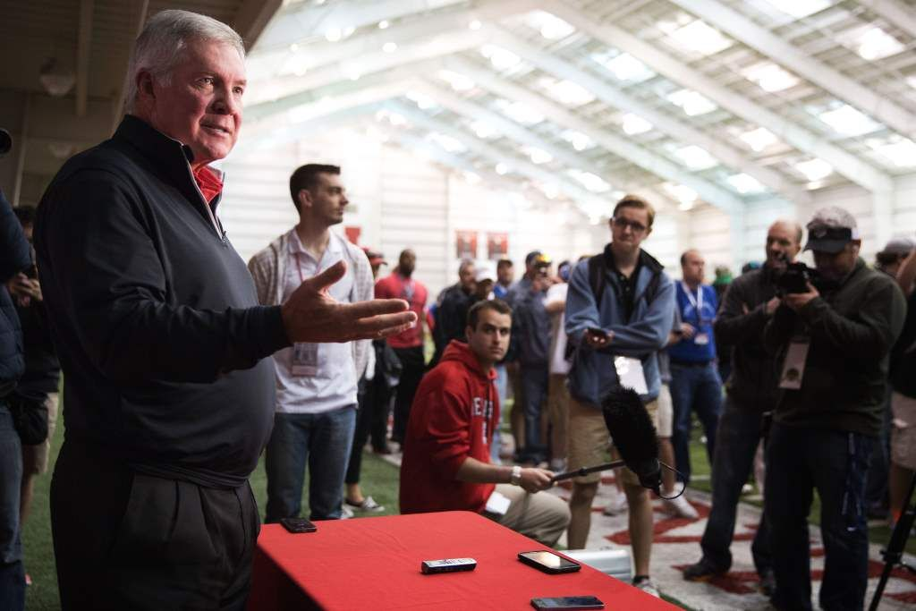 Mack Brown at Husker practice, says Mike Riley 'perfect for this place'
