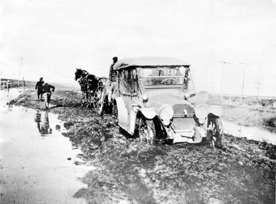 Automobile in mud