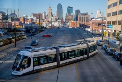 Kansas City streetcar with some skyline