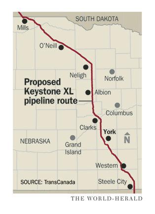 Keystone XL pipeline Nebraska map
