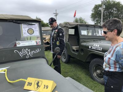 Convoy of vintage military vehicles on cross-country trip stops in Nebraska (copy)