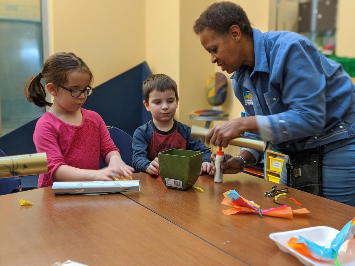 Volunteer Christine Lowery and kids