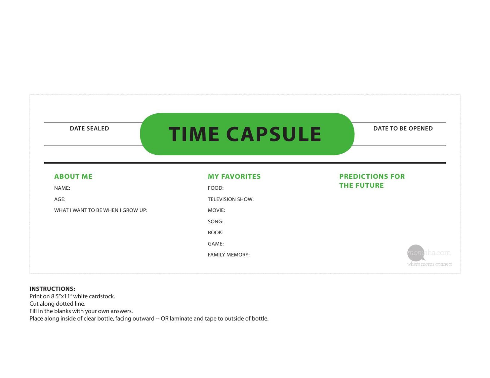 picture regarding Time Capsule Printable referred to as Year Capsule Printable
