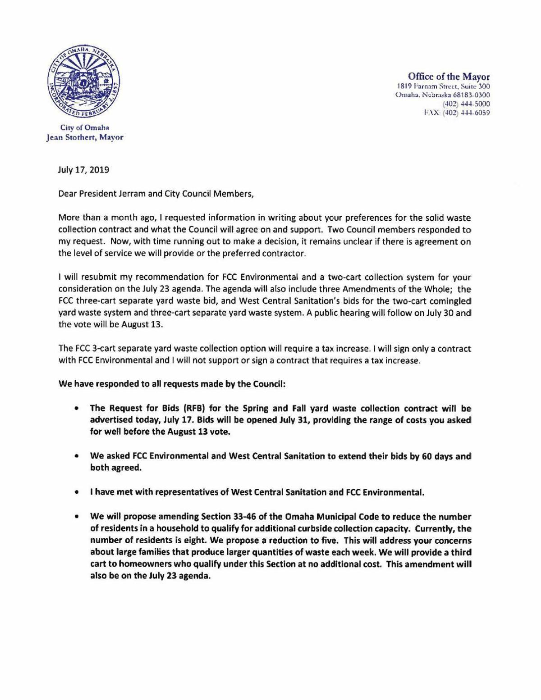 Stothert letter on trash bids