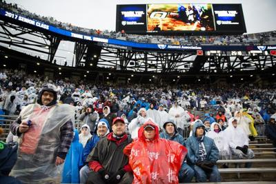 From the sidelines: Rain didn't hinter Penn State's offense, but it did keep fans away