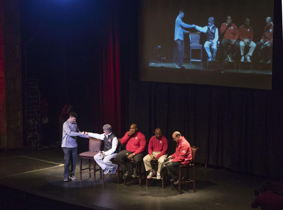 20180208 Spo Huskersignparty08 Nebraska S Offensive Coaches Enter The Stage At Rococo Theatre