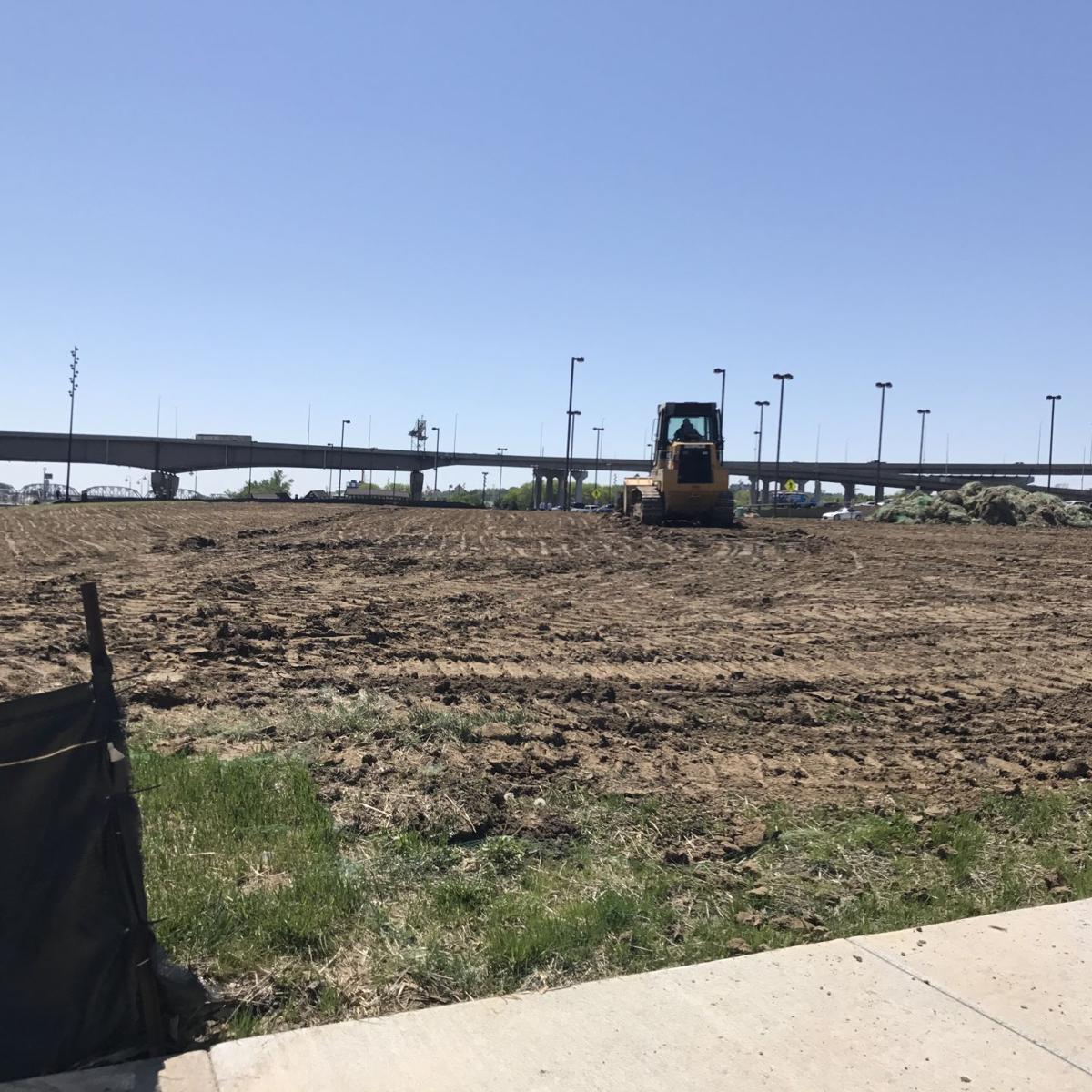 former storz trophy room site on riverfront re graded re seeded