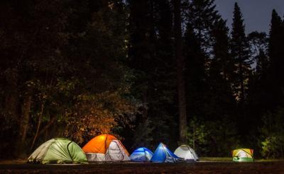 Camping, tents, night, summer
