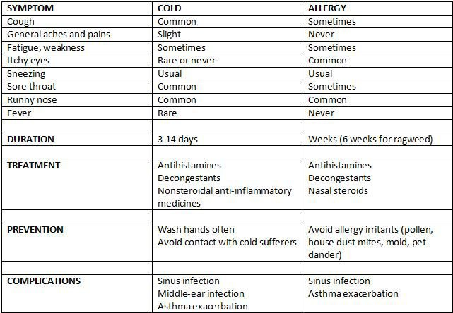 Allergy or cold?