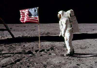NASA photo of flag on the moon
