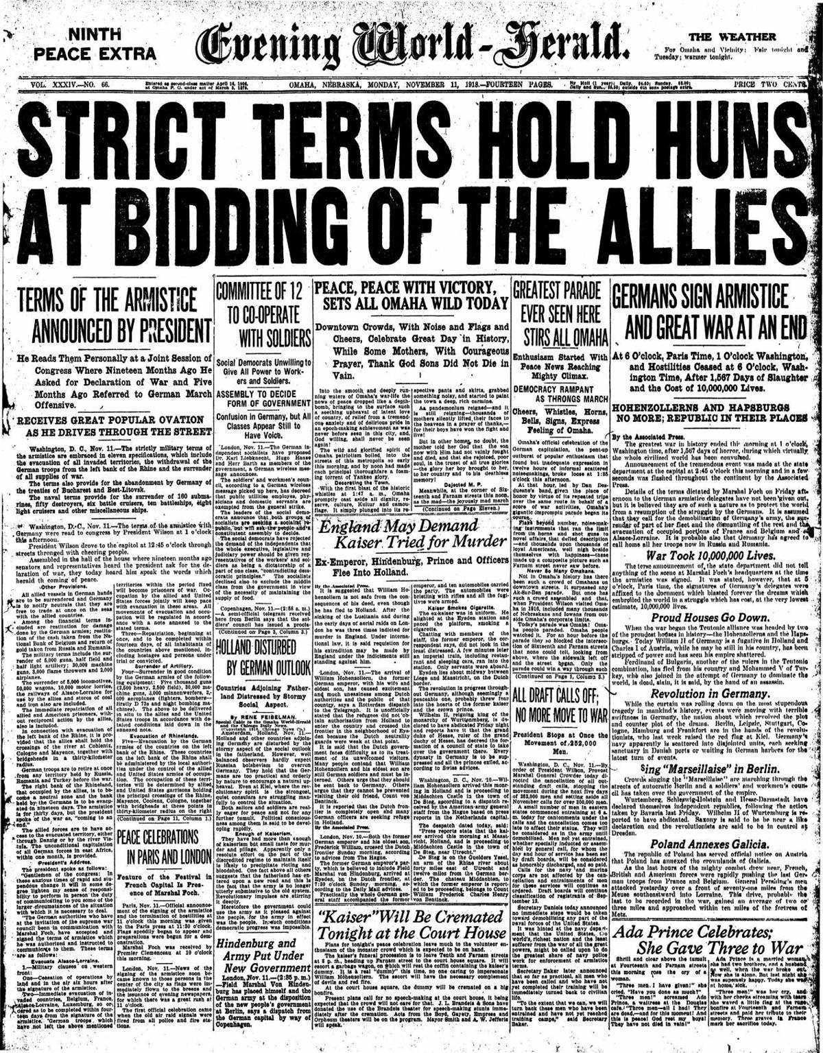 Evening World Herald Nov. 11, 1918 -- Front Page