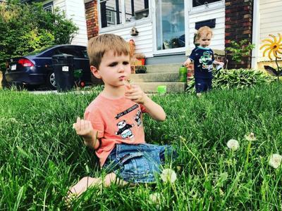 Sam and Elliott Coffey outside