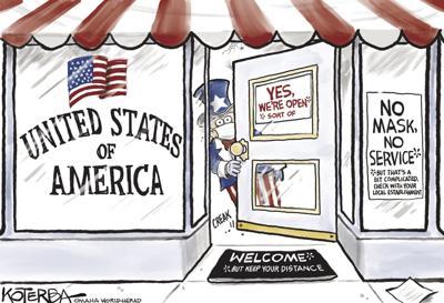 Jeff Koterba's latest cartoon: Yes, we're open. Sort of