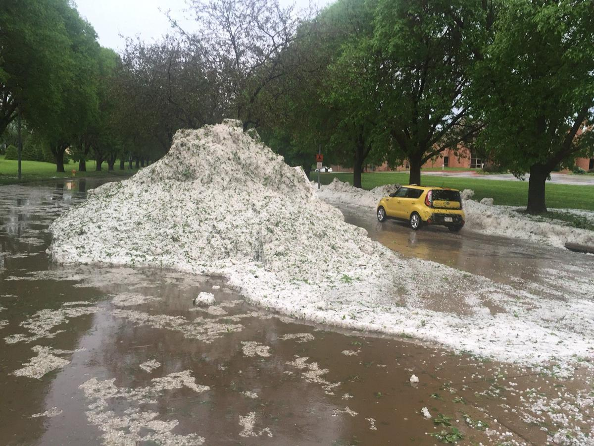 Piles of hail near 115th and Fort