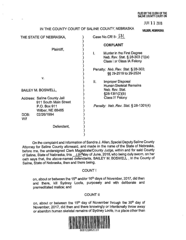 Bailey Boswell/Aubrey Trail court documents