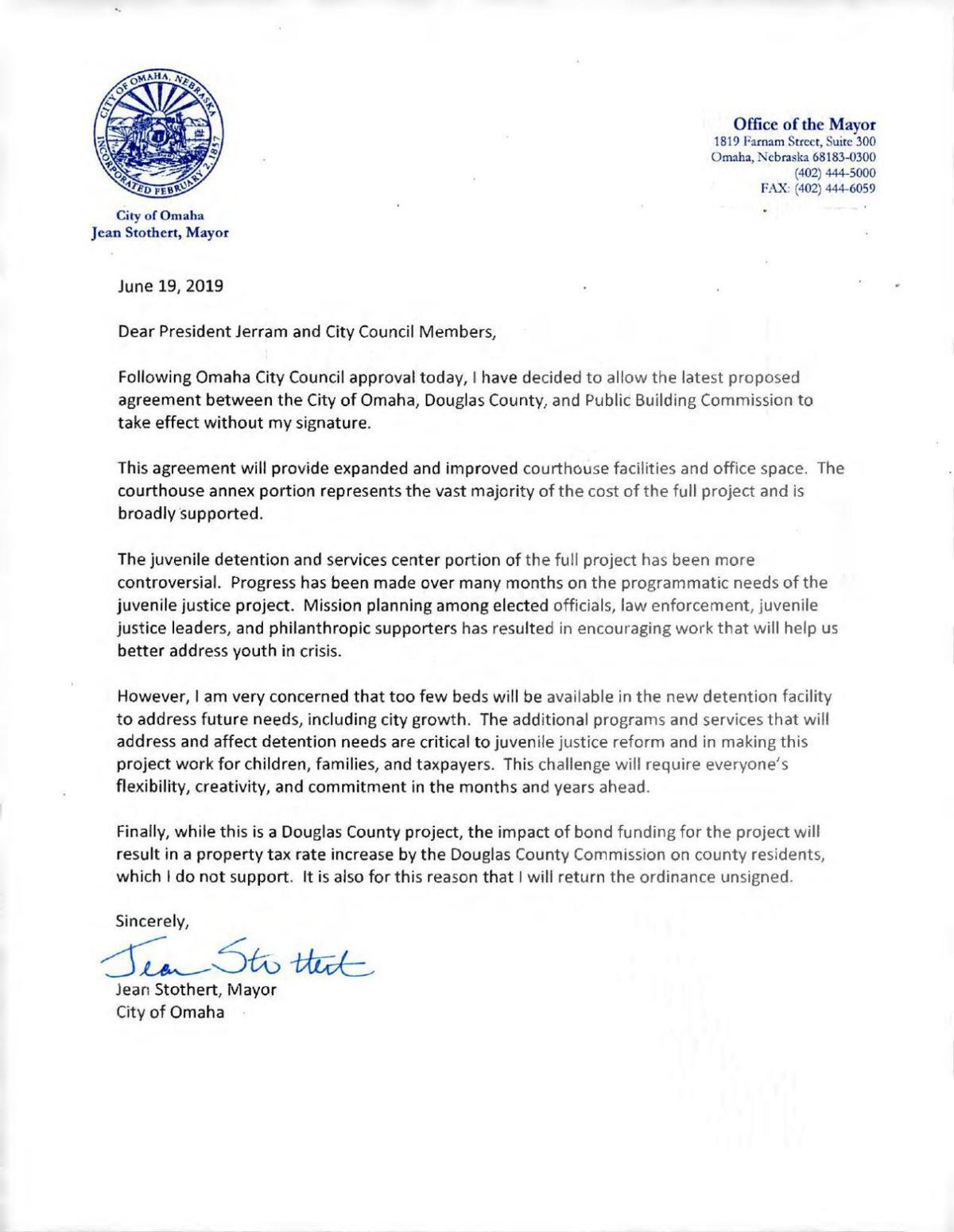mayor's letter