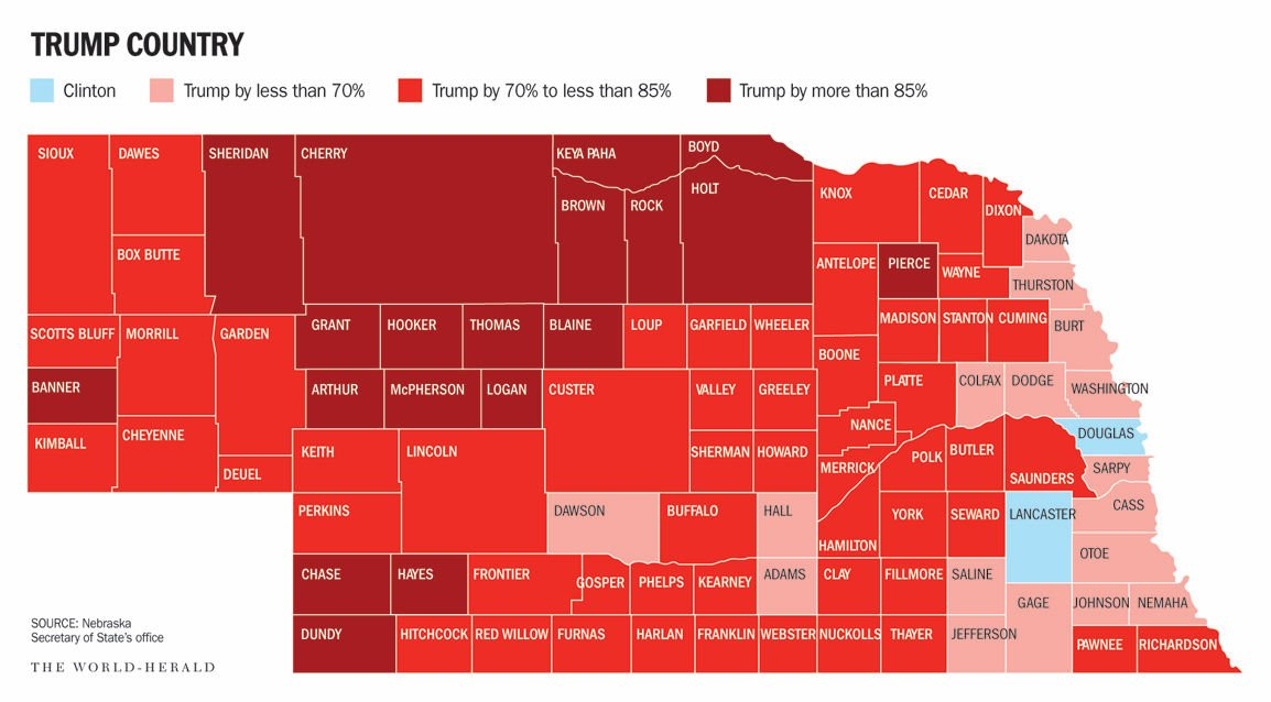 Big Red Rural Nebraska Counties Were Among Nations Top Trump - Trump voter coverage by county on us map