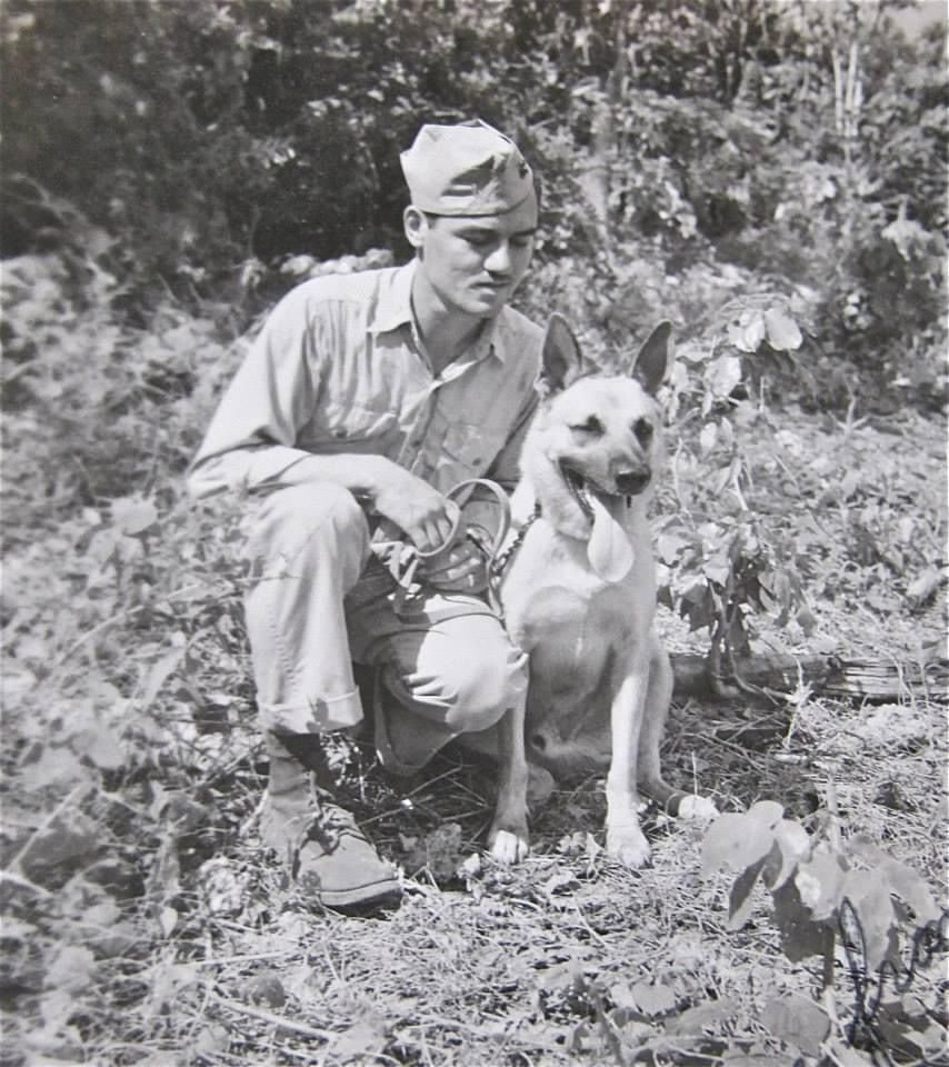 Robert Worth with Toney at Iwo Jima