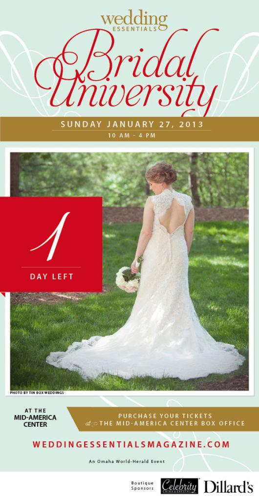 1 day left until Wedding Essentials Bridal University 2013!