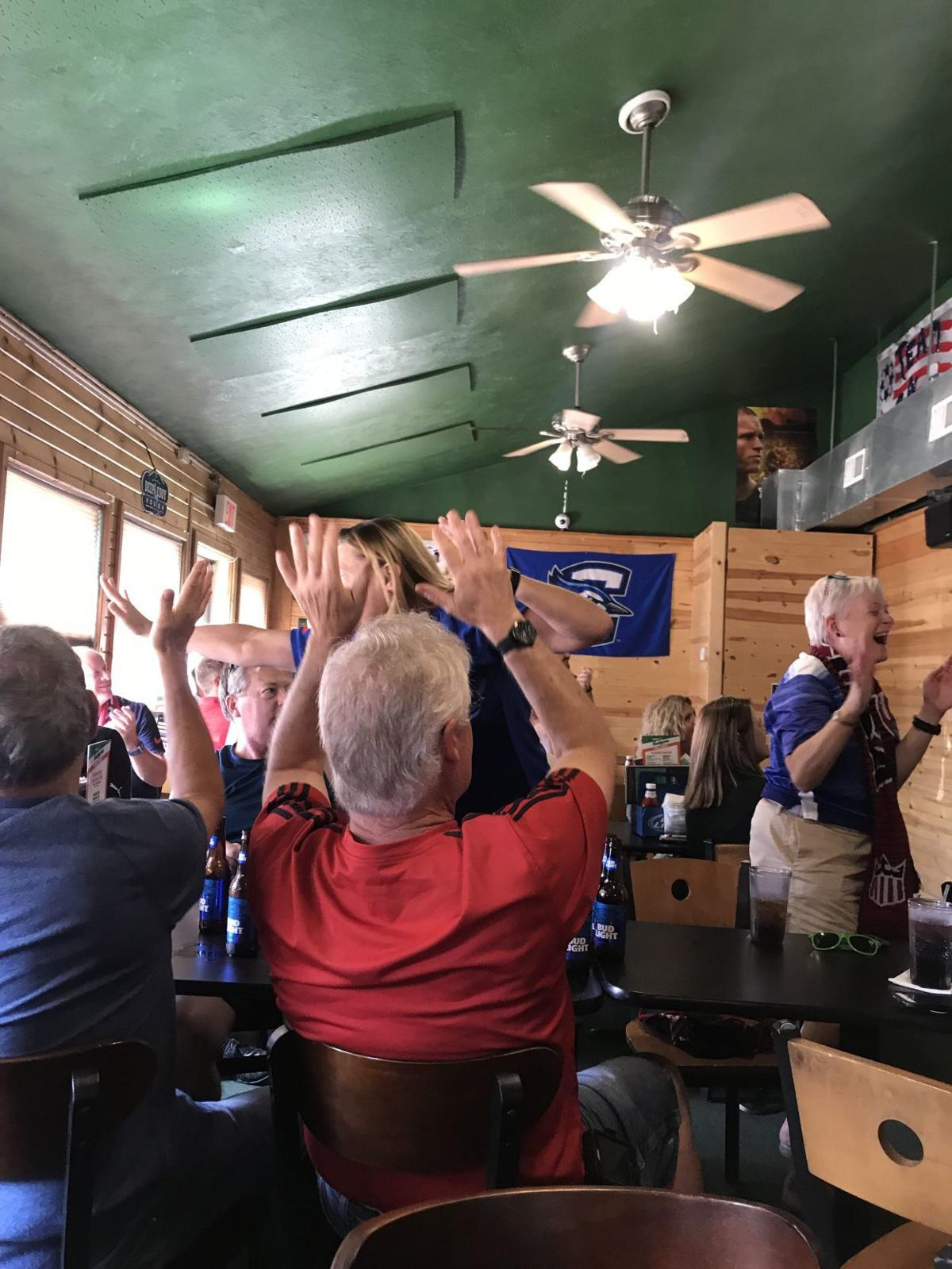 Celebrating fans at Barrett's