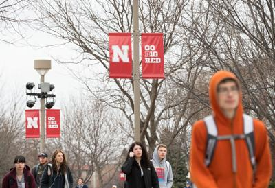 UNL students walk on campus