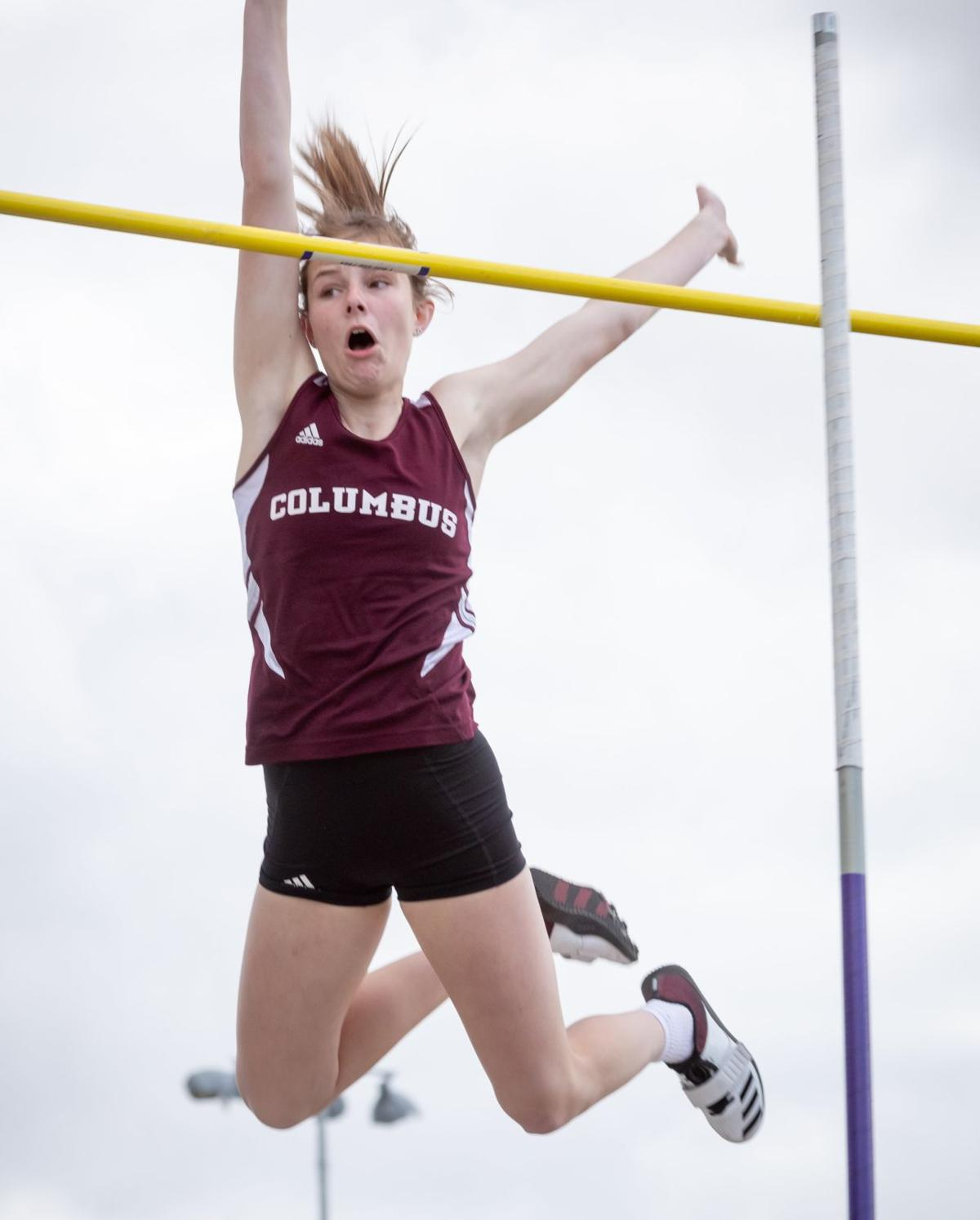 Columbus junior Jaidyn Garrett vaults to top of state charts at Nebraska Track and Field Festival