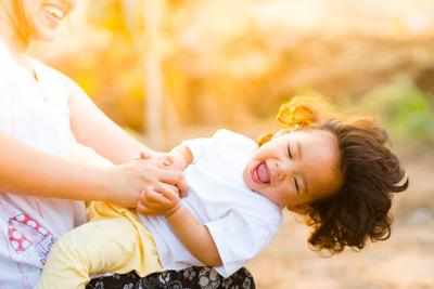 Mother, daughter, happy, tickling, laughing, parent, child