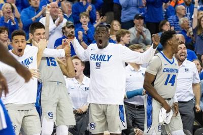 73a418a71ac Creighton's bench reacts to a second-half dunk by senior Connor Cashaw  during the Jays' win over Memphis Friday. CU plays at TCU Tuesday in the NIT  ...