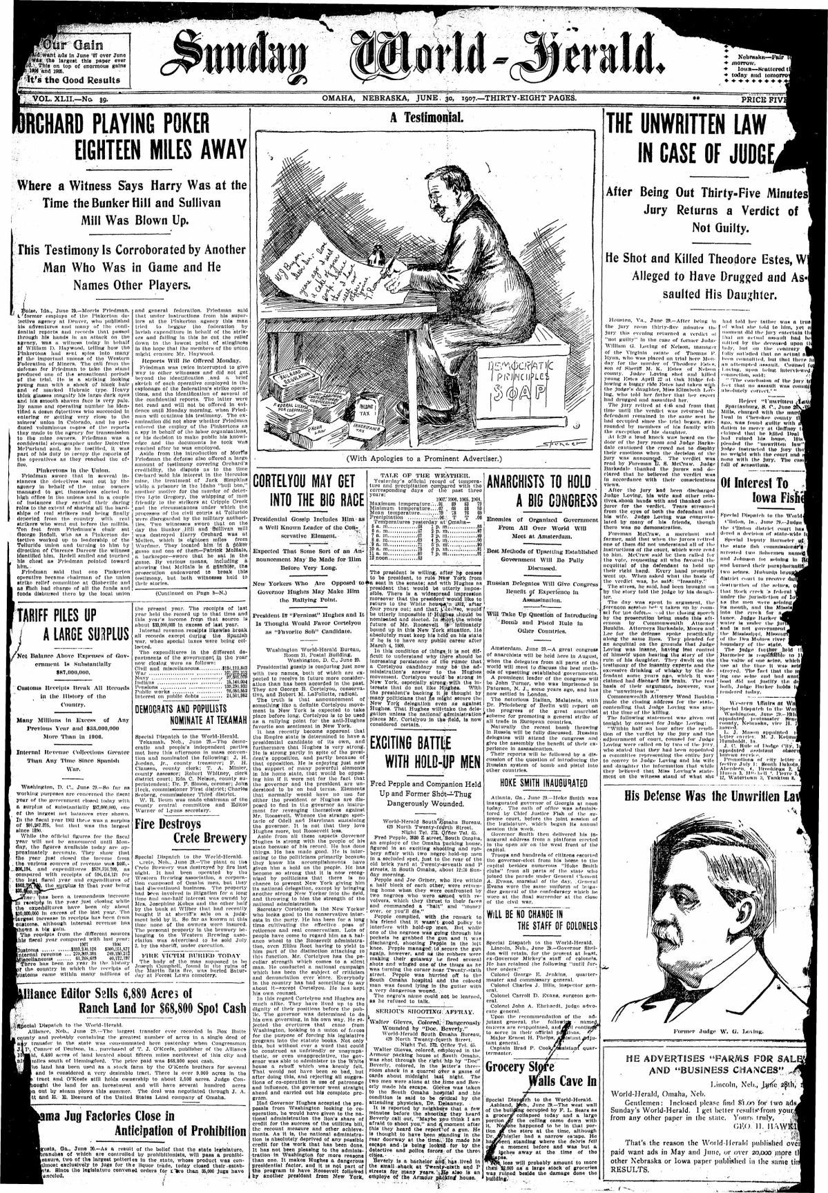 June 30, 1907, cover of The World-Herald