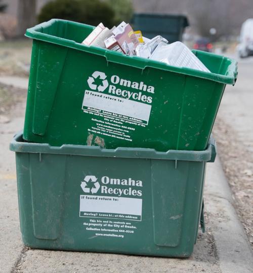 Green recycling bins