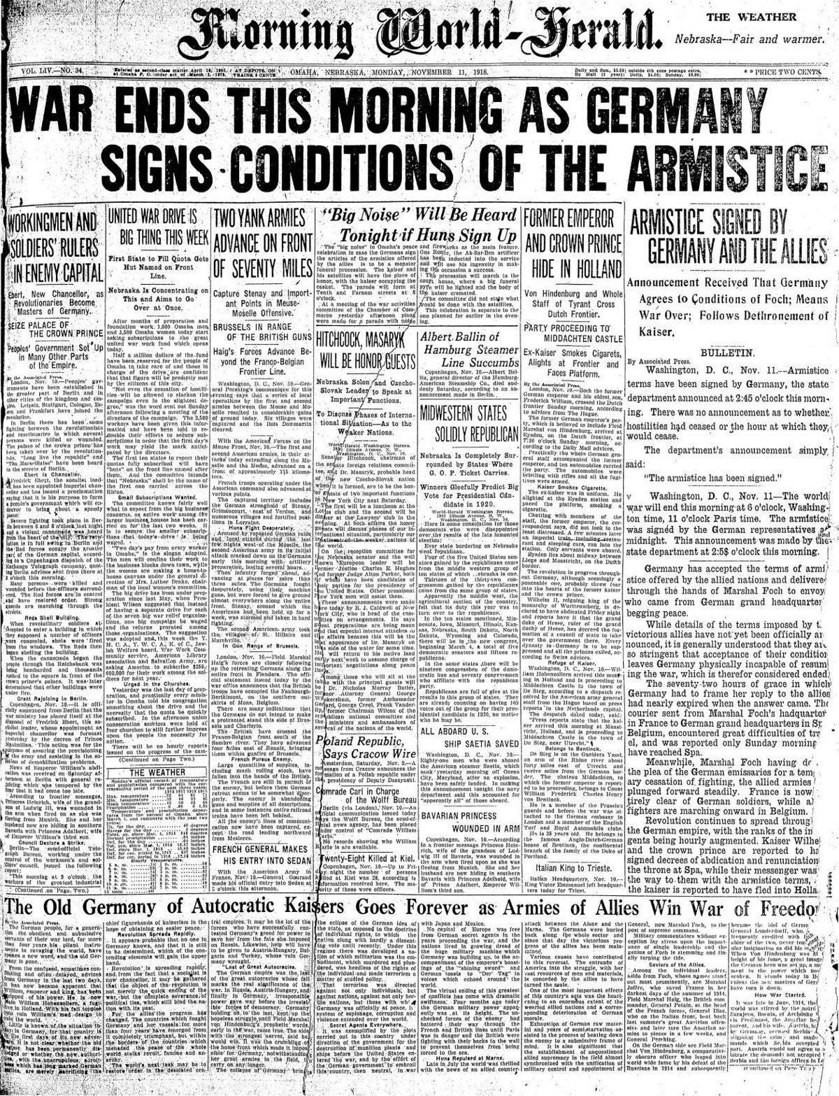 Morning World-Herald front page on Armistice Day
