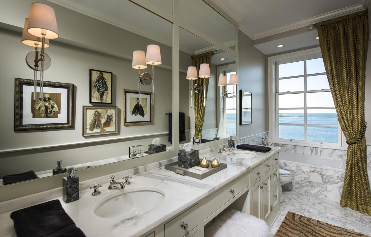 Ways to make a tiny bathroom look bigger inspired living for Modern classic bathroom designs