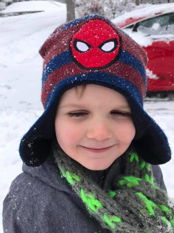 Sam Coffey in the snow