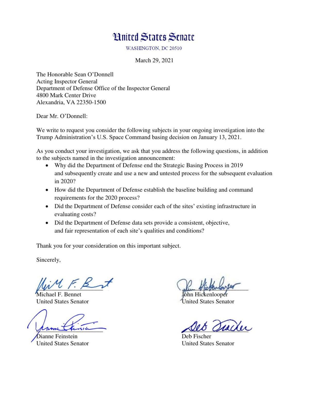Sen. Fischer letter to Department of Defense IG