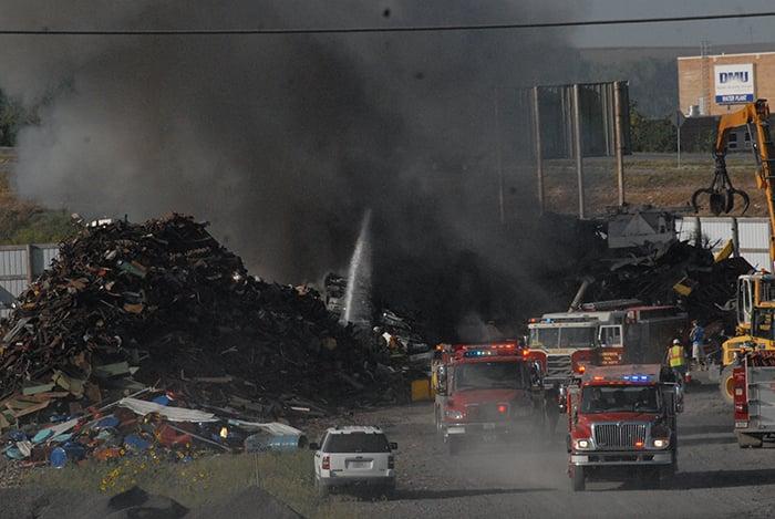 Firefighters battle blaze in Denison, Iowa