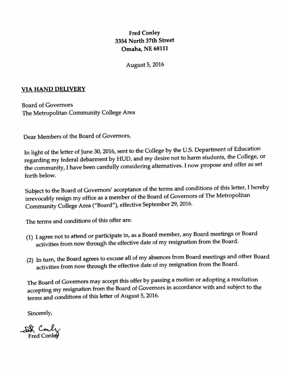read fred conleys resignation letter pdf omaha download pdf read fred conleys resignation letter pdf magorfo. Resume Example. Resume CV Cover Letter