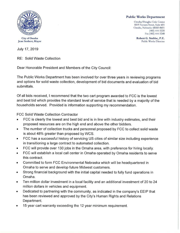 Public Works letter on trash