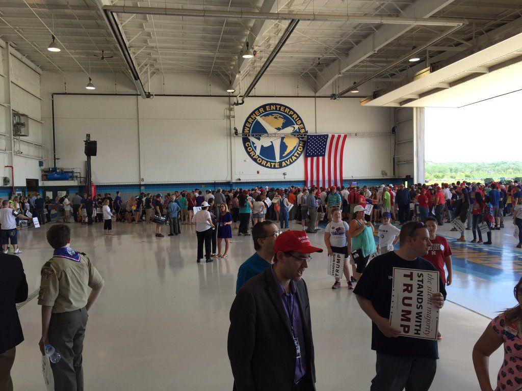 Inside hangar waiting for Trump