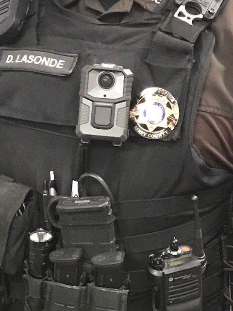 Closeup of Sarpy deputy's body-warn camera