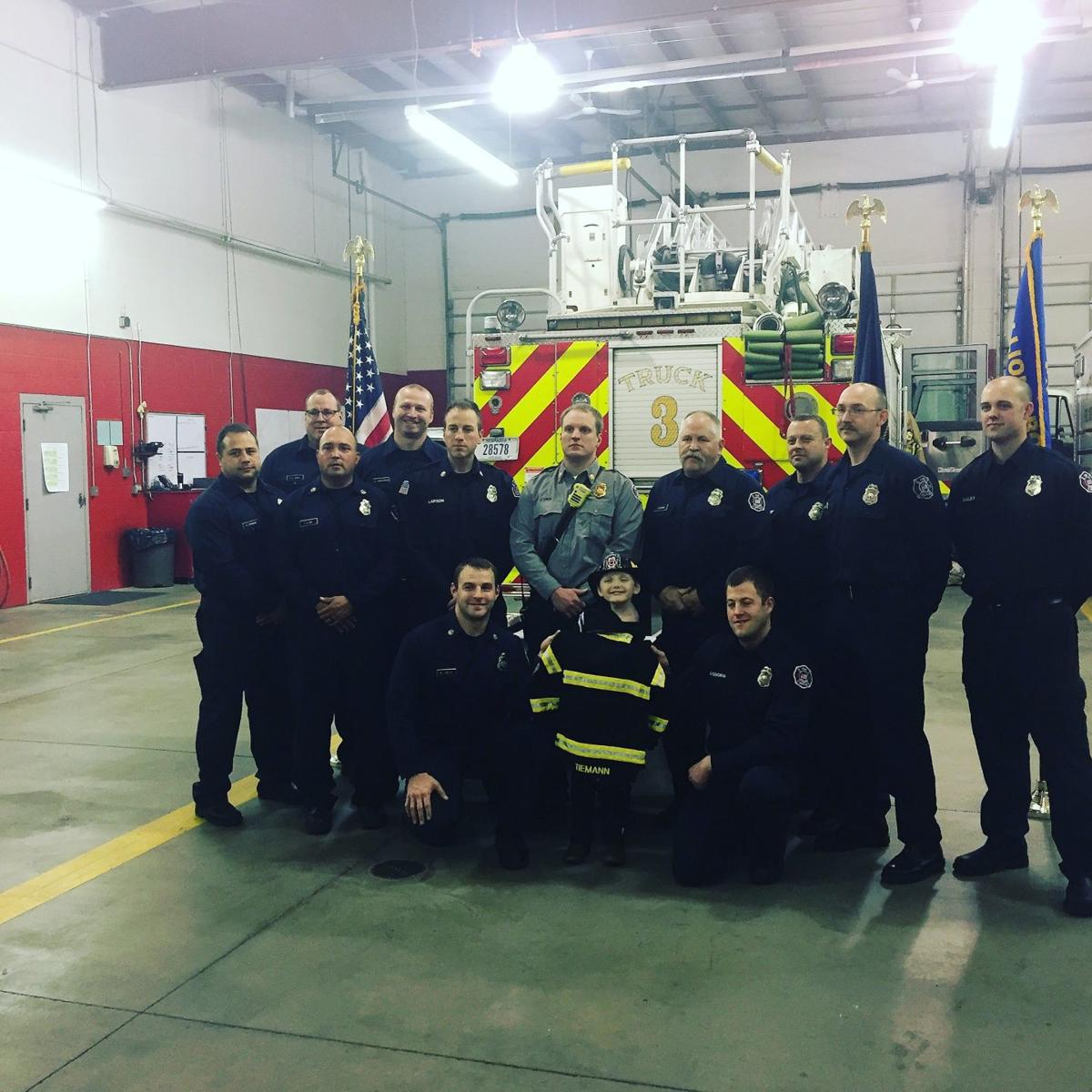 6-year-old with amputated arm named honorary Papillion firefighter