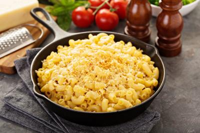 Macaroni and cheese in a cast iron pan