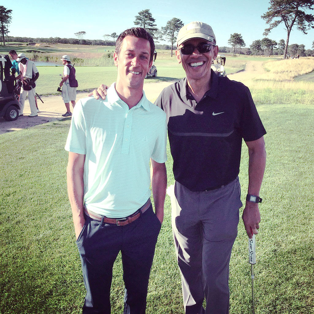Former Nebraskan misses golf buddy's visit [JUMP]Toddler's charm A picture of the president playing with an Omaha 1-year-old is the White House's photo of the day. Page 2B
