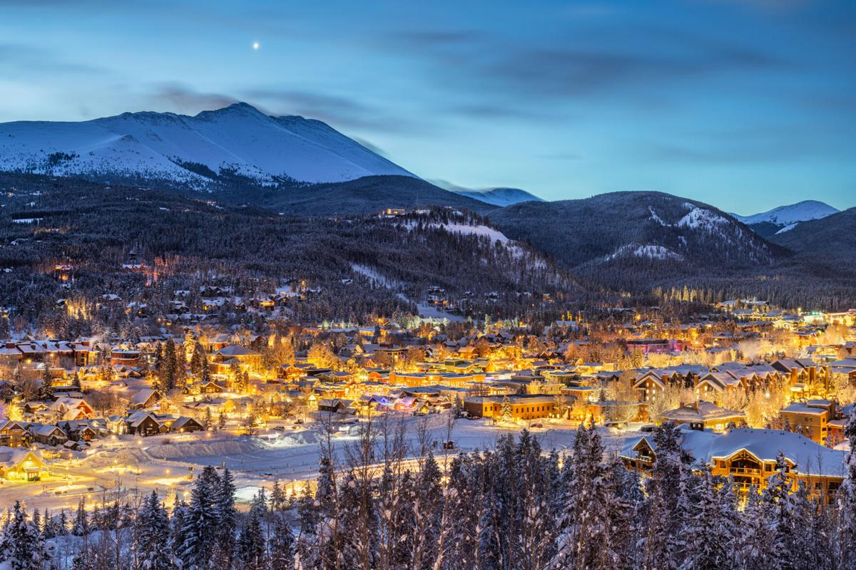 A view of the skyline in Breckenridge, Colorado in winter at dawn.
