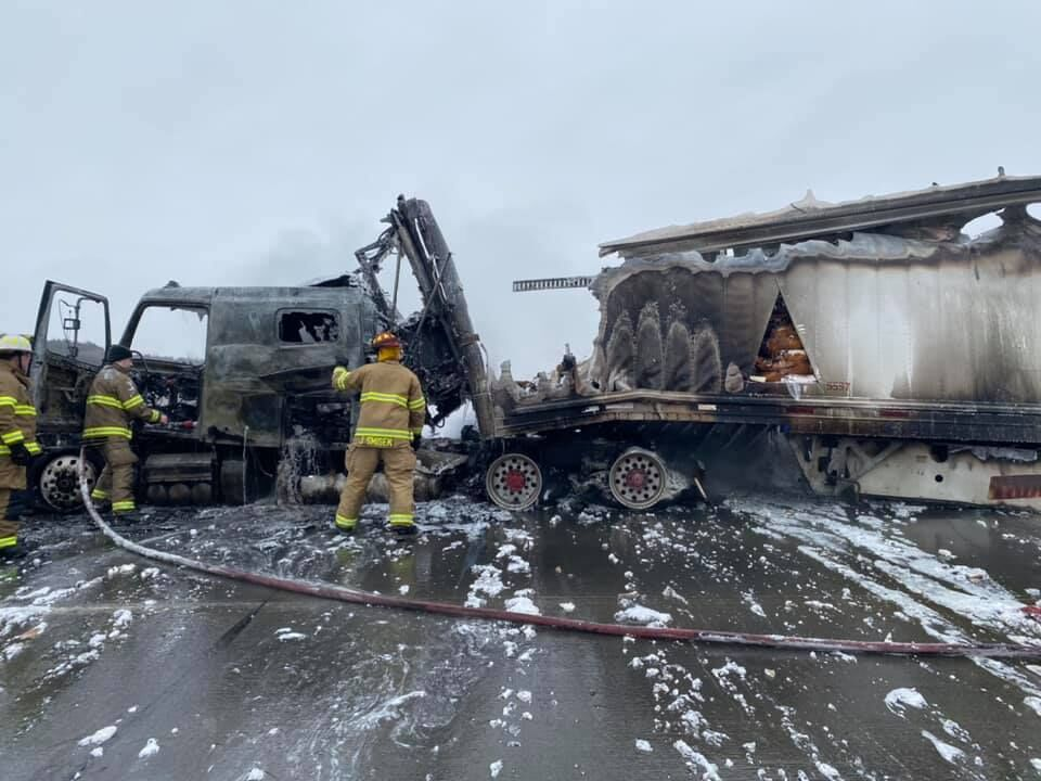 Semi-tractor trailer fire