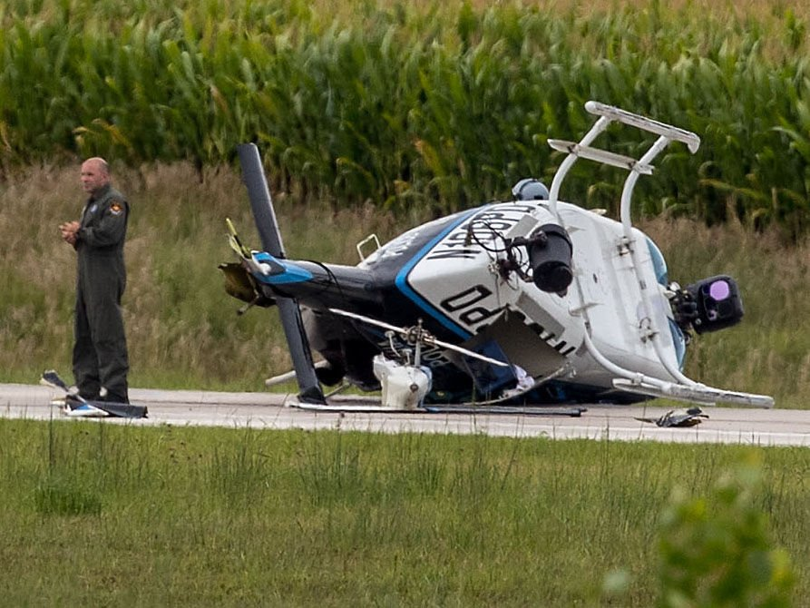 Closer view of the downed helicopter, 8/16
