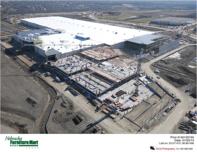 Merveilleux An Aerial Shot Of The Dallas Area Nebraska Furniture Mart In Dallas, Texas,  Illustrates Exterior Construction As Of January 2014.
