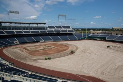 Watch: TD Ameritrade Park resurfaces field with turf