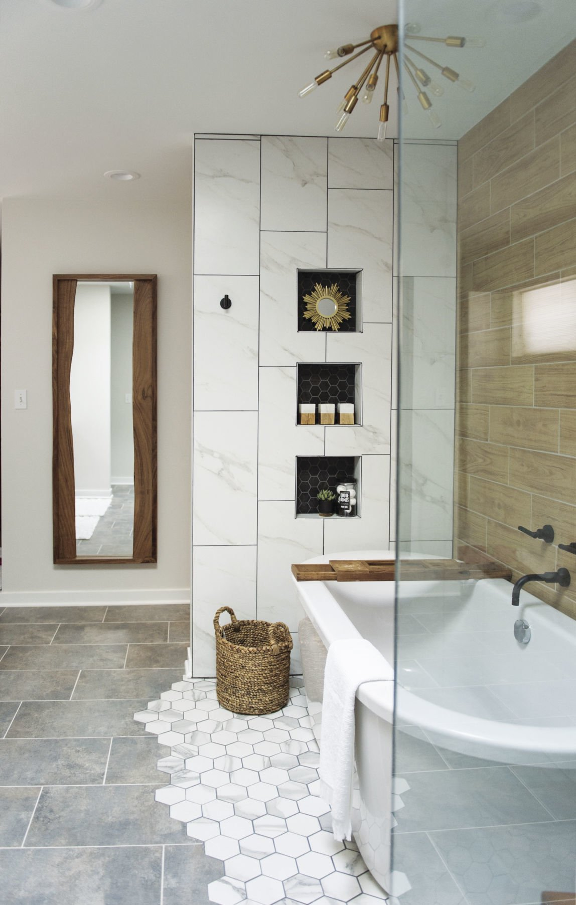 a 1990s master bath shows off in handsome mid century modern style