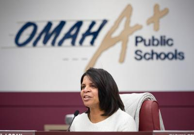 Superintendent Cheryl Logan at an OPS school board meeting