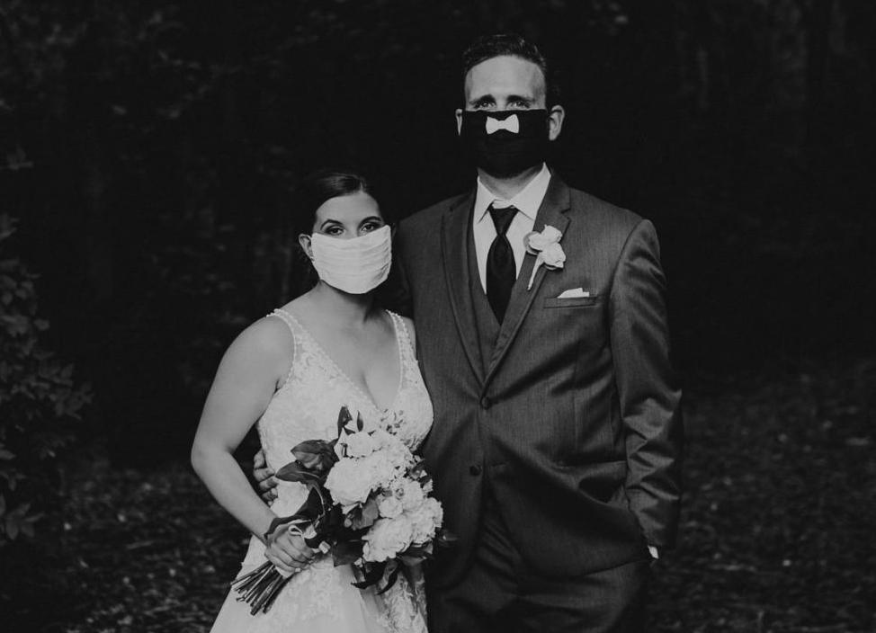 Kelsey and David in masks